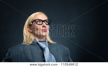 Surprised happy geek businesswoman portrait