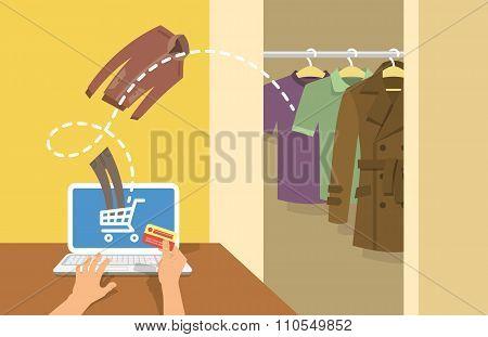 Online Shopping Men Clothes Concept