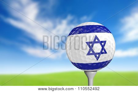 Golf ball with Israel flag colors sitting on a tee