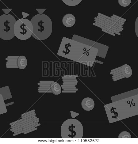 Business and finance seamless pattern. Background for business in shades of dark grey.