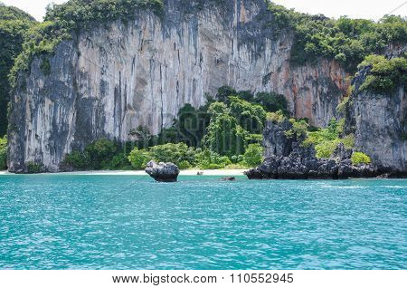 The Small Secluded Beach of the Trees Covered Island. Koh Hong Island at Phang Nga Bay