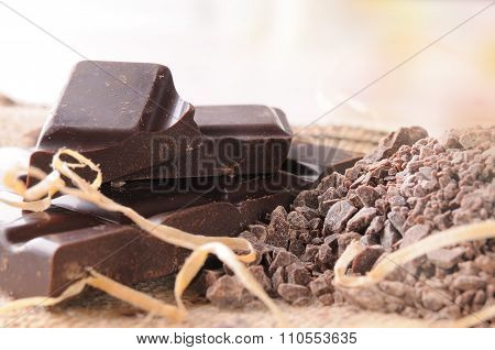 Artisan Chocolate Broken Stack With Portions And Chunks Close Up