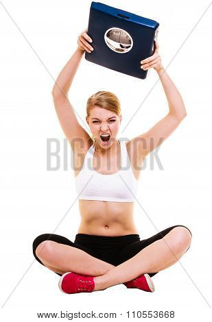 Angry Woman Weighing Scale. Slimming Weight Loss.