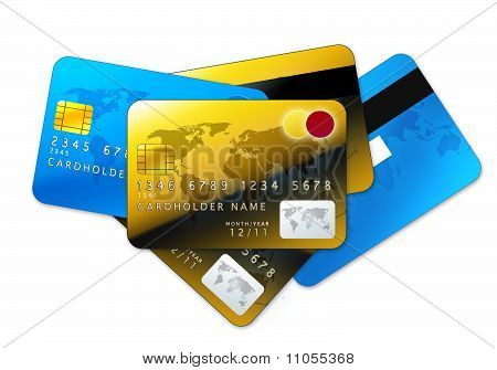 Credit Cards On White Background