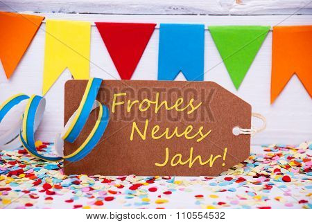 Label With Party Decoration, Text Neues Jahr Means New Year