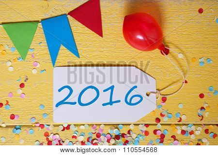 Party Label With Balloon, Text 2016