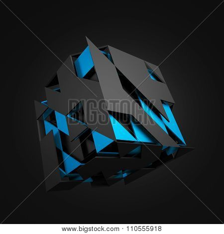 Abstract 3D Rendering of Flying Cube.