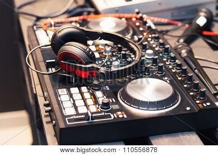DJ equipment, headphones, microphones, vinyl