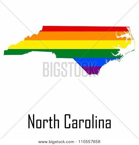 Vector Rainbow Map Of North Carolina In Colors Of Lgbt - Lesbian, Gay, Bisexual, And Transgender - P