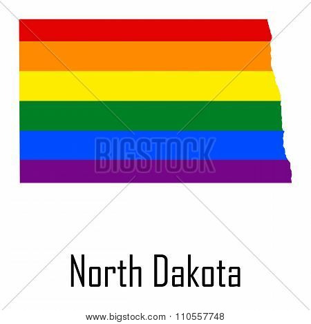 Vector Rainbow Map Of North Dakota In Colors Of Lgbt - Lesbian, Gay, Bisexual, And Transgender - Pri