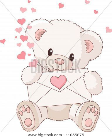 Teddy Bear With Envelope And Hearts