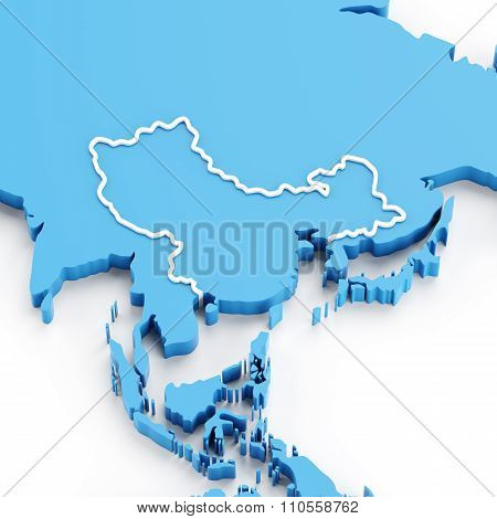 Extruded map of China and Asia region