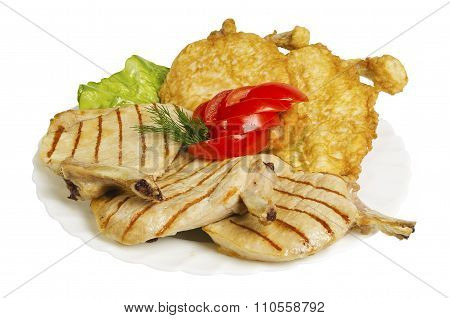 Chicken Chops Grilled Isolated