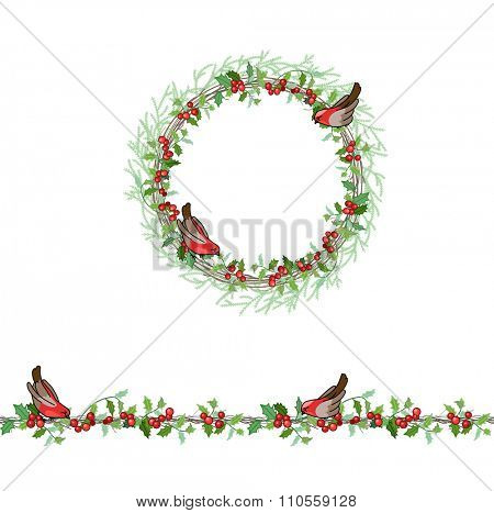Christmas template with bullfinches and red berries. Round frame with fir branches