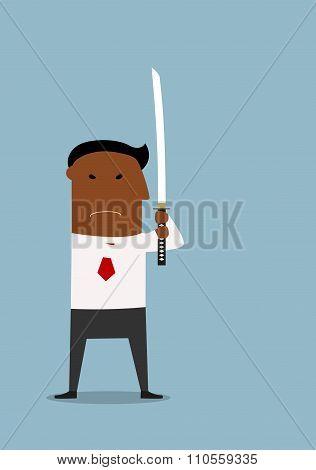 Serious businessman standing with samurai sword