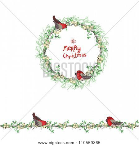 Christmas template with bullfinches and white berries. Round frame with fir branches