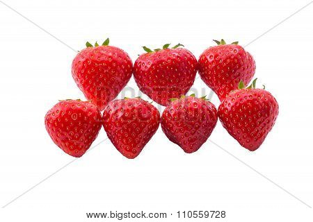 Isolated red strawberries on white background