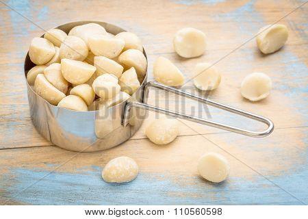 macadamia nuts in a metal measuring scoop (1/2 cup) against rustic barn wood, top view