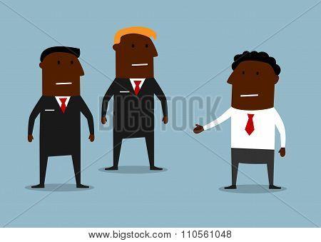 Powerful bodyguards guarding a businessman