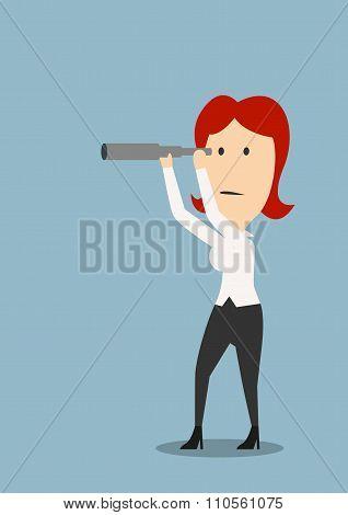 Businesswoman looking through a spyglass