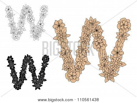 Retro floral font letter W with brown motifs