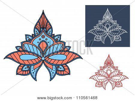 Blue paisley flower with turkish openwork design