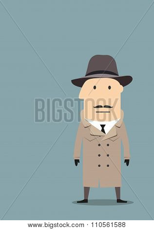 Spy or detective agent in coat