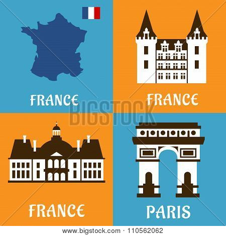 French landmarks and travel flat icons