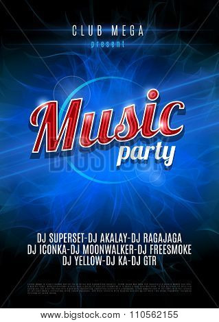 Vertical blue music party party background with place for text on blue flame background.  Vector ver