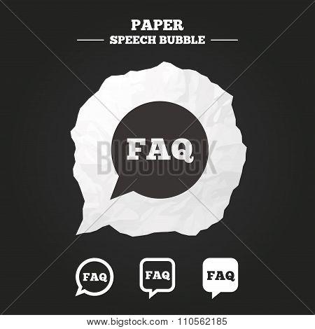 FAQ information signs. Help speech bubbles.