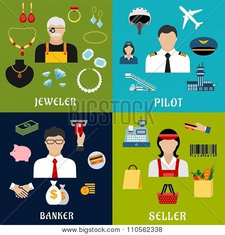 Seller, banker, pilot and jeweler professions