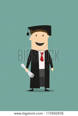 Student in graduation gown and hat with diploma