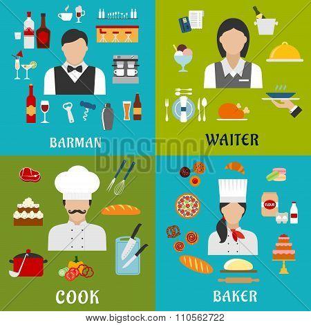 Cook, baker, waitress and barman professions