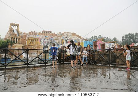 BEIJING - CIRCA JUNE, 2015: Famous Happy Valley Beijing is an amusement park is composed of six themed areas. Water rides are very popular with visitors to the park amusement.