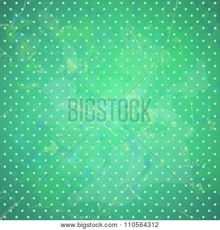 Bright mint green polka dots vector background. Christmas  backdrop.