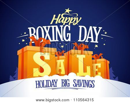 Happy Boxing day sale design with gift boxes on a snow, holiday big savings.