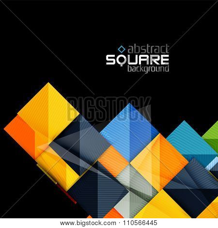Glossy color squares on black. Geometric abstract background for your message. Vector