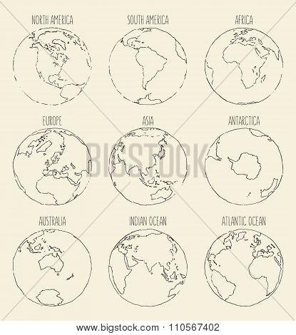 Sketch globe America Africa Europe Asia Australia