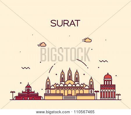 Surat skyline vector illustration linear style
