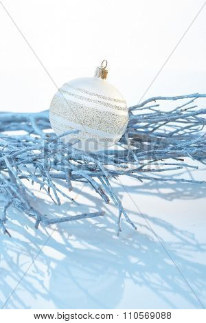 Pure white christmas decoration.