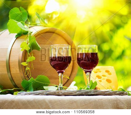 Wine. Red Wine and Cheese. Romantic Lunch Outdoor. Outdoors