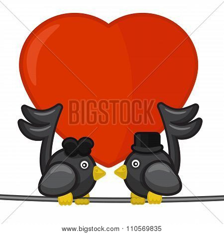 Card With Two Notes Birds Singing Love Song
