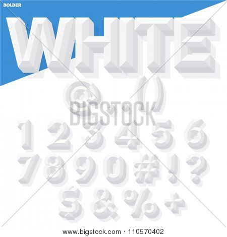 Vector 3D white set of simple bold beveled numbers and symbols with shadow. Simple colored version.