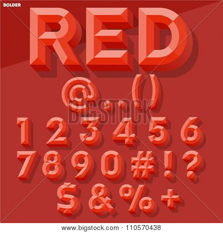Vector 3D red set of simple bold beveled numbers and symbols with shadow. Simple colored version.