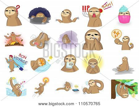 Cute And Funny Cartoon Sloth Character Mascot In Various Action And Expression Icon Collection Set 2