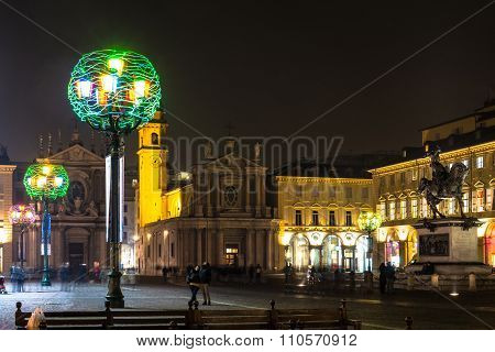 Night view of Piazza San Carlo in Turin, Italy