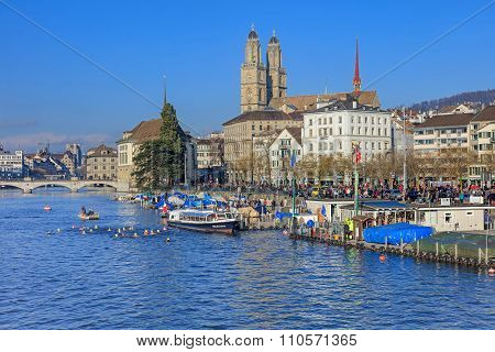 Limmat River And The Limmatquai Quay During The Samichlaus-schwimmen