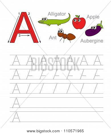 Letter A. Learn handwriting.