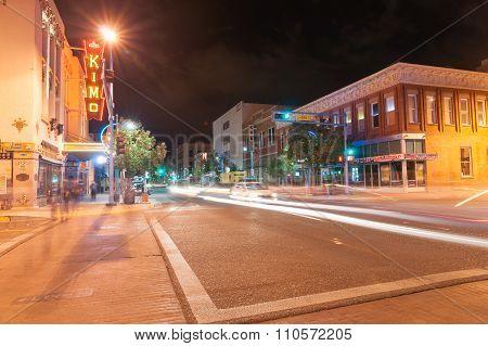 Neon Signage Kimo Theater, Albuquerque, New Mexico, Usa. Kimo Theater, A Pueblo Deco Picture Palace,