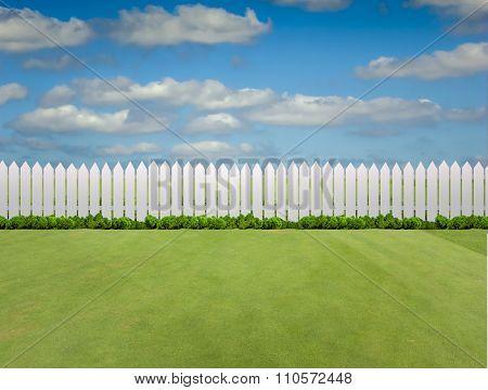 White fences on green grass